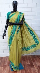 Golden Yellow Embroidery Mixed Tussar Silk Saree, 6.3 m (with blouse piece)