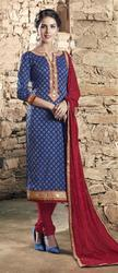 Unstitched Purple Embroidered Suit