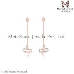 Pave Setting 14k Rose Gold Diamond Earring Jewelry