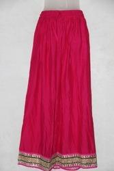 Rayon Plain Skirt With Border