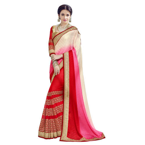 1d3be0dfd53 Triveni Red Colored Embroidered Jacquard Georgette Saree at Rs 2762 ...