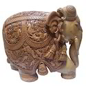 Brown Carved Wooden Elephant