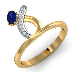 Blue Stone Gold Diamonds Ring