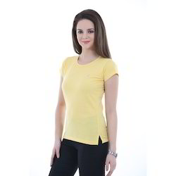 Ladies Yellow Round Neck T-Shirts