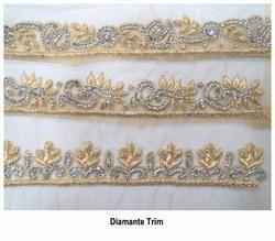Hand Embroidered Diamante Trim