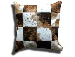 Hairon Leather Patchwork Cushion
