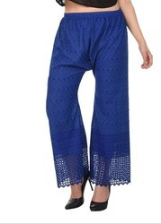 Trendzone Blue Cotton Full Chicken Ladies Palazzo Pants, Size: Multiple
