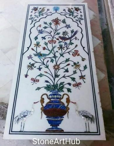 White Marble Inlay Panel, Thickness: 2 inch