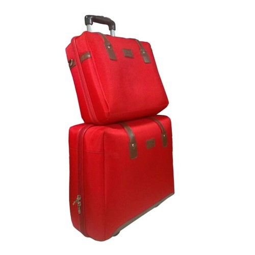 6581060cbbd5 Red Cotton Fabric   Nylon Traveling Bag Set