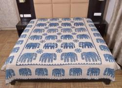 Indian Indigo Block Print Elephant Applique Bedspread