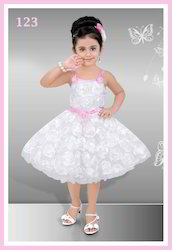 Girls White Frill Net Frocks