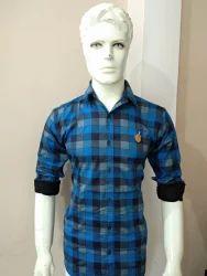 Men Party Wear Cotton Check Shirts