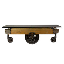 Brown Wood Cart Coffee Table with Glass Top