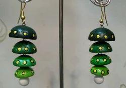 Green Terracotta Earrings