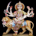 Multicolor Maa Durga Marble Statue