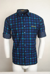 Blue Black Checked Reversible Shirt