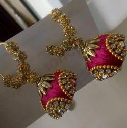 Silk Thread Reddish Pink Color Ear Rings