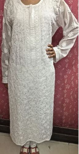 2192436534d2d1 Long White Soft Cotton Indian Ethnic Tunic Kurti - India Chikan ...