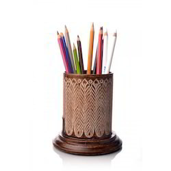 Custom-Made Brown Corporate Pen Stand, for Promotional and corporate stationary