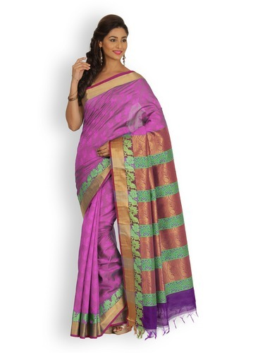 99f9cabded Kanjeevaram Cotton Border Platinum Silk Cotton Saree, With Blouse Piece