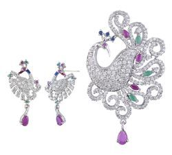 925 Sterling Silver Peacock Pendant Sets