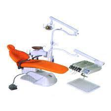 Modern concept of dentist with blue dental chair with manual.