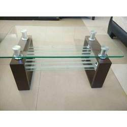 Wooden Rectangular Glass Top Teapoy Table