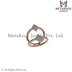 Fashion Designer Pave Diamond Rose Gold Ring