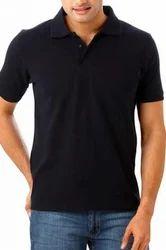 Cotton Plain Mens Collar T Shirt, Size: Medium