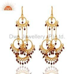 Gold Plated Sterling Silver Designer Chandelier Earrings