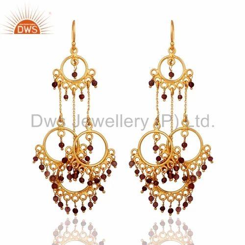 Gold Plated Sterling Silver Designer Chandelier Earrings