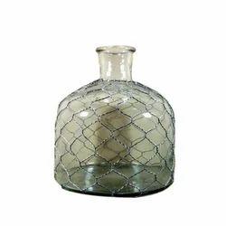 Clear Glass Bottle Vase, Shape: Bottled