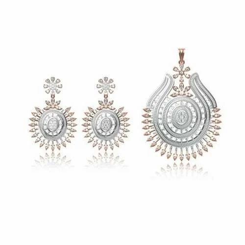 Diamond pendant set at rs 40000 carat heere ke pendant ka set diamond pendant set aloadofball Image collections