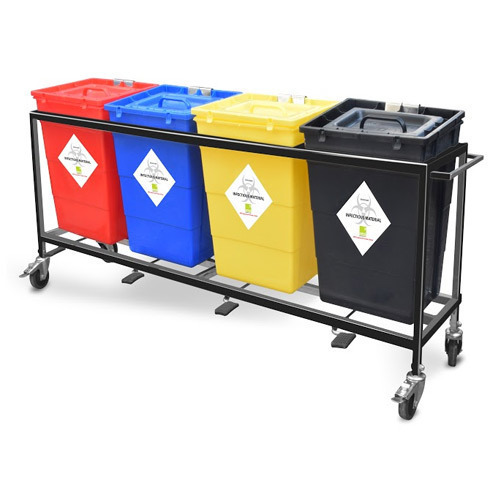 Biomedical Waste 4 Bin Trolley Four Compartment Waste
