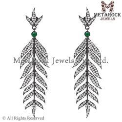Pave Diamond Leaf Shape Earrings Jewelry