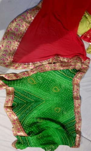 Party Wear, Wedding Wear Border Bandhej Half Saree, With Blouse Piece