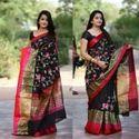 Pure Chanderi Zari Border Embroidery Saree
