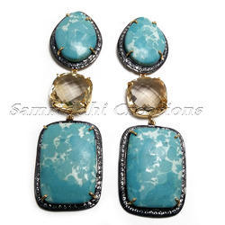 Larimar and Citrine 925 Sterling Silver Dangler Earring
