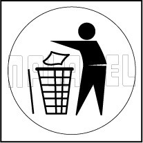 153619 Waste in Dustbin Sign Vinyl Sticker