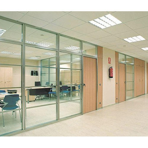 Printed Office Glass Partition, Shape: Flat