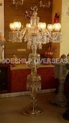Antique Crystal Pedestal Lamp