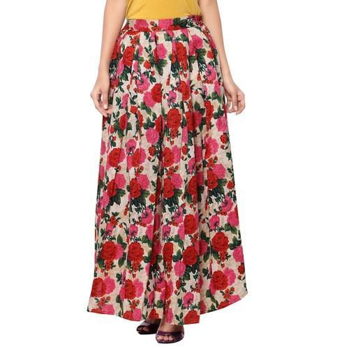 3c462c9539 Drapme Floral Print Box Pleated Long Silk Skirt, प्लीटेड ...