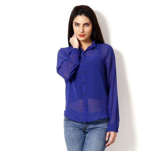89a55141338f6 Women Georgette Plain Blue Shirt