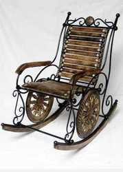 Wrought Iron Wooden Resting Chair