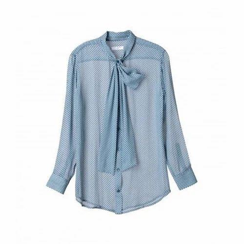 Full Sleeves Formal Ladies Printed Blue Shirt