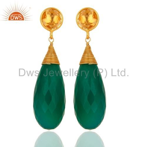 Dws 925 Silver Natural Green Onyx Gemstone Drop Earrings