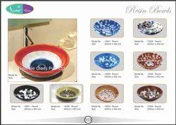 Resin White & Red Strip Design Sink