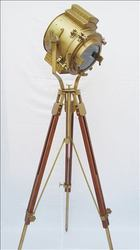 Maritime Brass Nautical Desk Lamp Antique Wooden Tripod Spotlight Searchlight Highly Polished Maritime Lamps & Lighting
