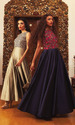 Royal Blue And Golden Evening Gowns