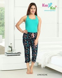 Stretchable Black KuuKee 9224 Ladies Capri Lowers, Size: Large